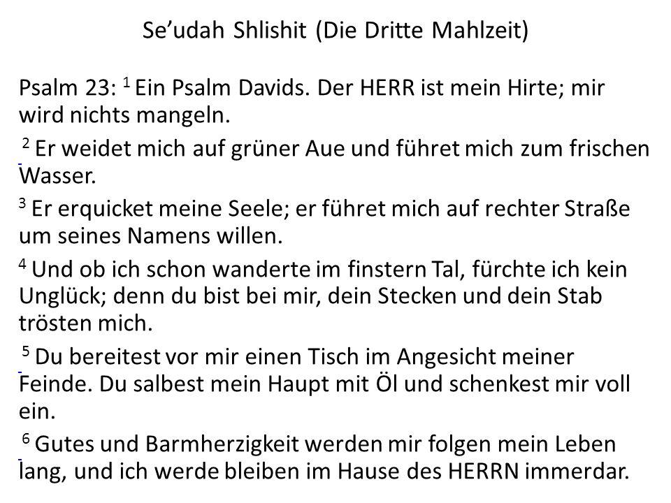 Seudah Shlishit (Die Dritte Mahlzeit) Psalm 23: 1 Ein Psalm Davids. Der HERR ist mein Hirte; mir wird nichts mangeln. 2 Er weidet mich auf grüner Aue
