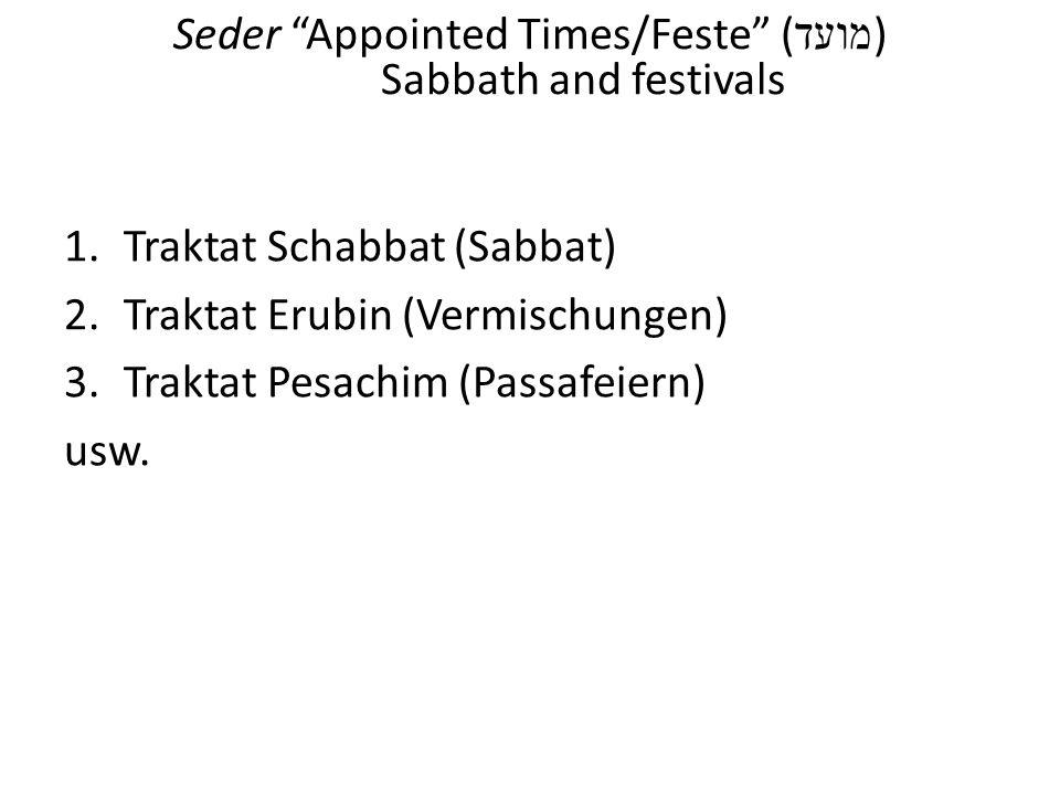 Seder Appointed Times/Feste ( מועד ) Sabbath and festivals 1.Traktat Schabbat (Sabbat) 2.Traktat Erubin (Vermischungen) 3.Traktat Pesachim (Passafeier