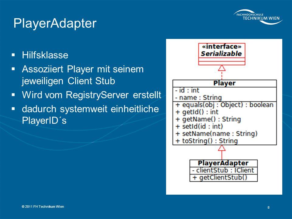 Hilfsklasse Assoziiert Player mit seinem jeweiligen Client Stub Wird vom RegistryServer erstellt dadurch systemweit einheitliche PlayerID´s 8 © 2011 F