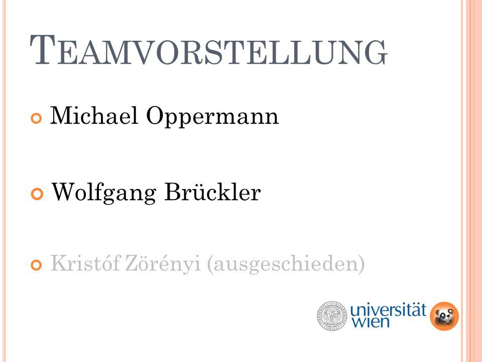 T EAMVORSTELLUNG Michael Oppermann Wolfgang Brückler Kristóf Zörényi (ausgeschieden)