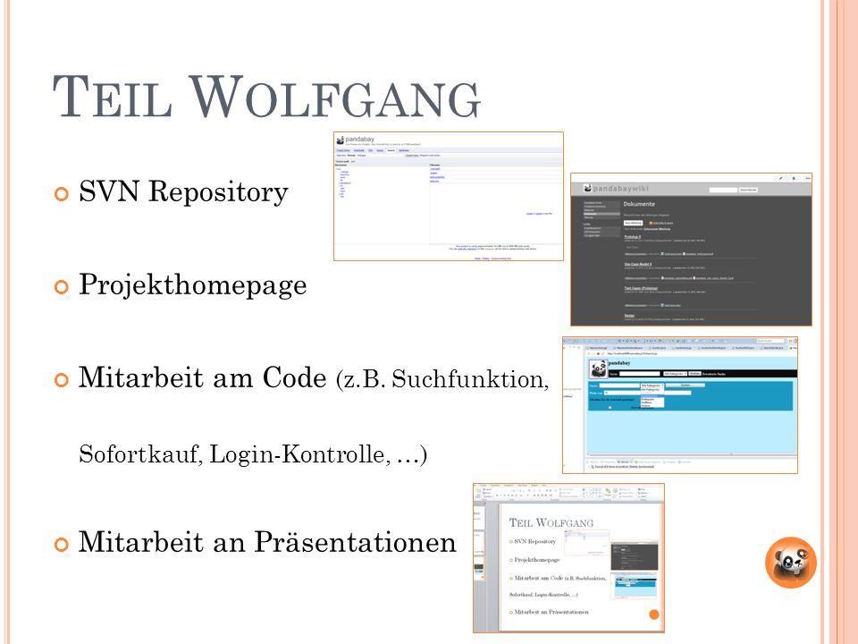 T EIL W OLFGANG SVN Repository Projekthomepage Mitarbeit am Code (z.B.