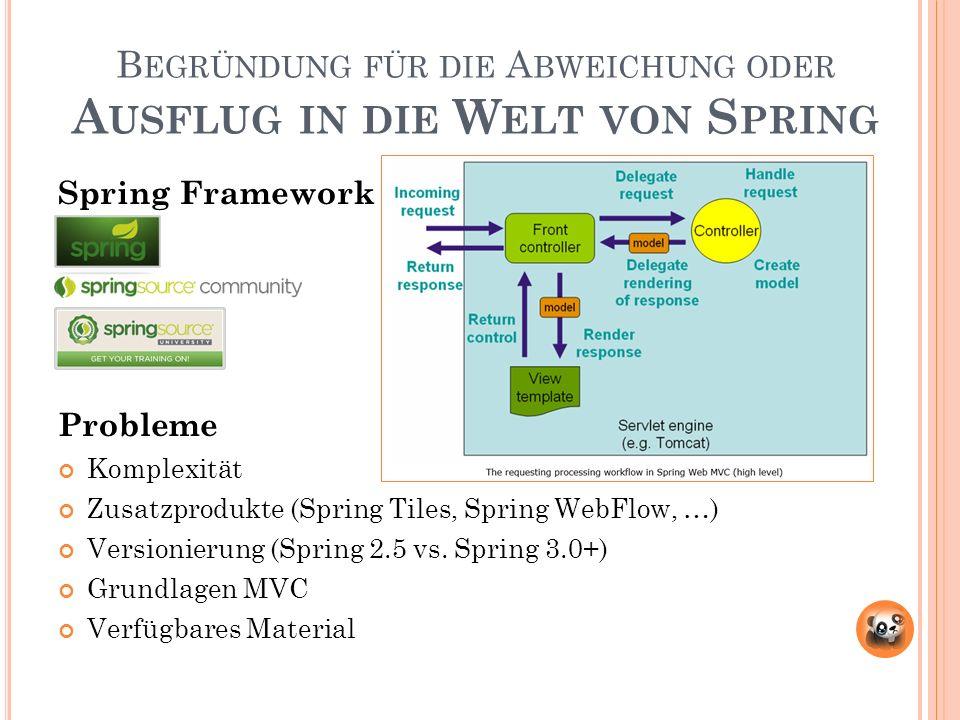 B EGRÜNDUNG FÜR DIE A BWEICHUNG ODER A USFLUG IN DIE W ELT VON S PRING Spring Framework Probleme Komplexität Zusatzprodukte (Spring Tiles, Spring WebFlow, …) Versionierung (Spring 2.5 vs.