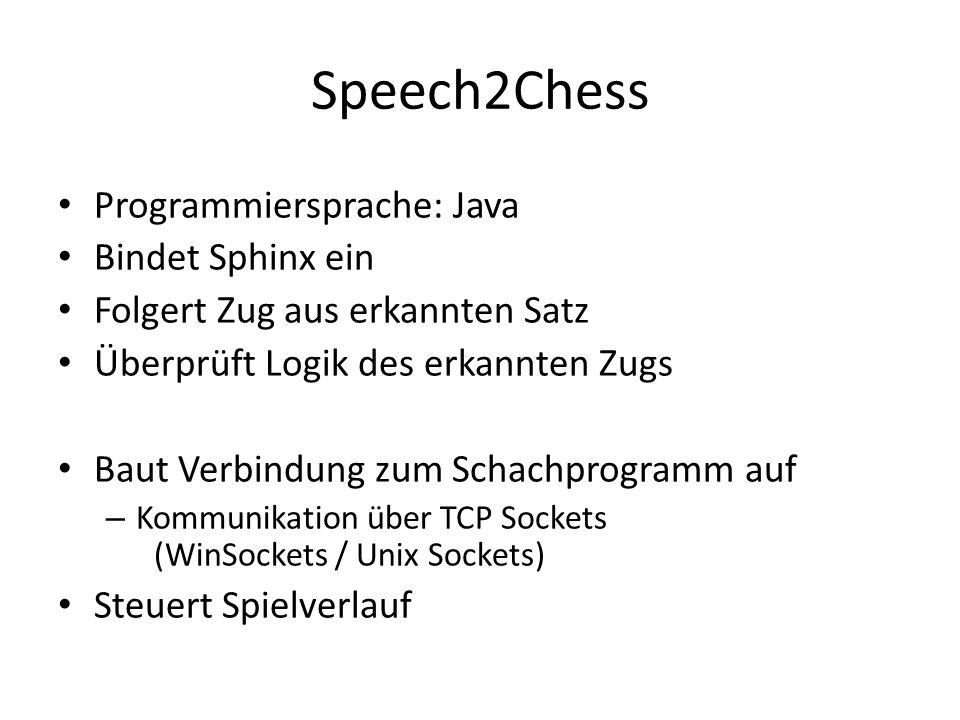 Speech2Chess Programmiersprache: Java Bindet Sphinx ein Folgert Zug aus erkannten Satz Überprüft Logik des erkannten Zugs Baut Verbindung zum Schachprogramm auf – Kommunikation über TCP Sockets (WinSockets / Unix Sockets) Steuert Spielverlauf