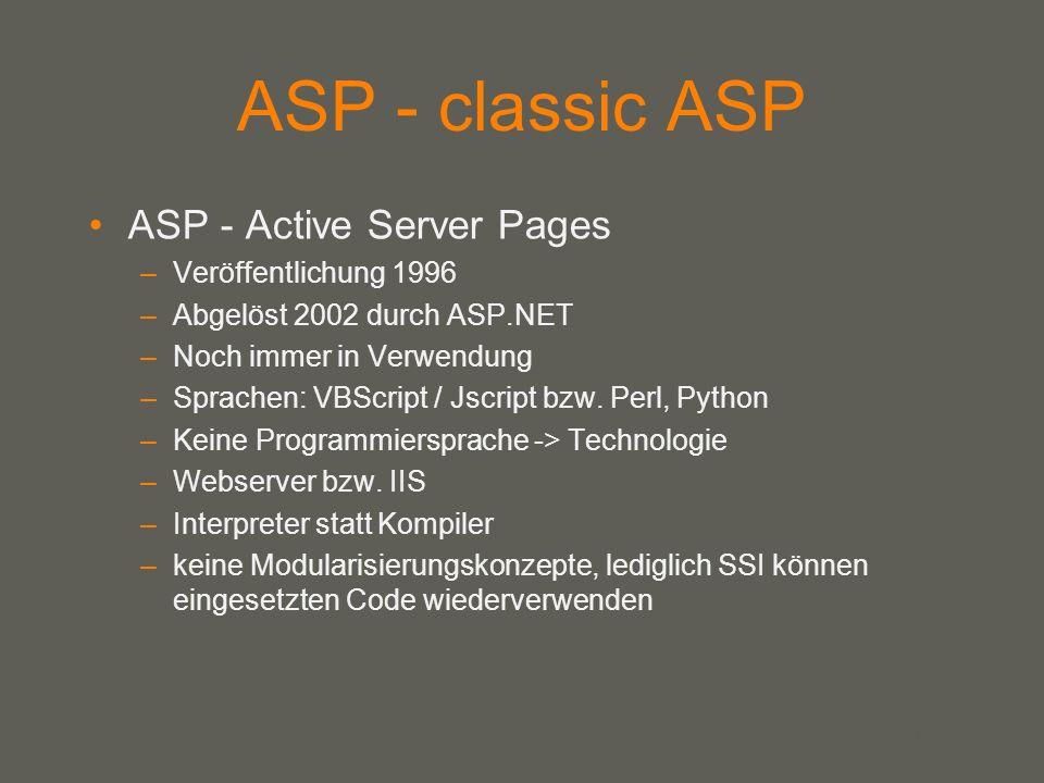 your name ASP - classic ASP ASP - Active Server Pages –Veröffentlichung 1996 –Abgelöst 2002 durch ASP.NET –Noch immer in Verwendung –Sprachen: VBScrip