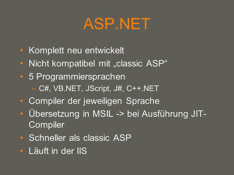 your name ASP.Net Vorteile –Klare Trennung von Code und Design –unabhängig von der Programmiersprache –Schneller JIT-Compiler Nachteile: –Schwerer zu erlernen als PHP –Microsoft gebunden Entwicklungsumgebungen: –Visual Studio.NET (VS.NET) –Visual Web Developer
