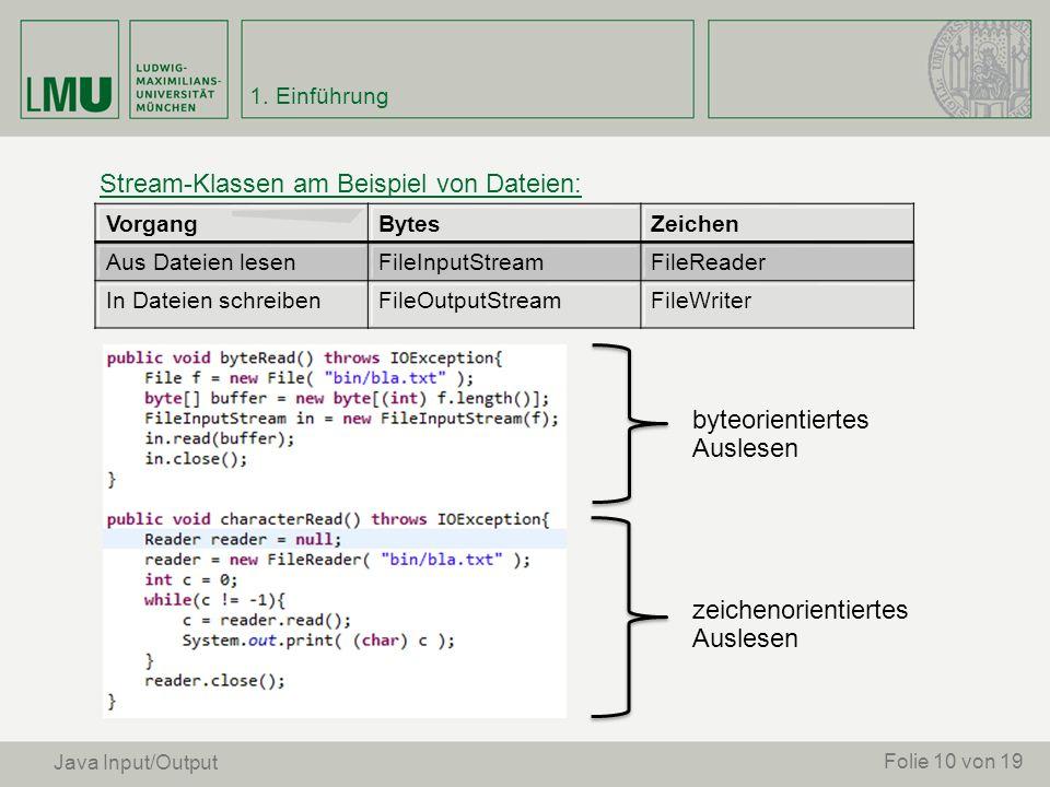 Stream-Klassen am Beispiel von Dateien: Folie 10 von 19 VorgangBytesZeichen Aus Dateien lesenFileInputStreamFileReader In Dateien schreibenFileOutputS