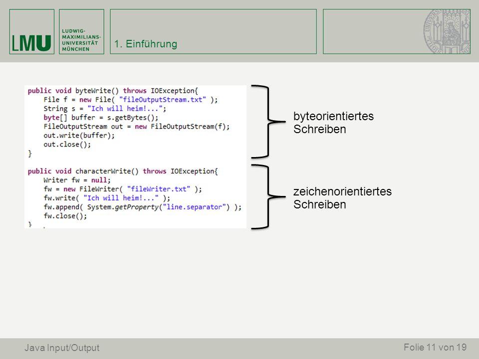 Folie 11 von 19 Java Input/Output byteorientiertes Schreiben zeichenorientiertes Schreiben 1. Einführung