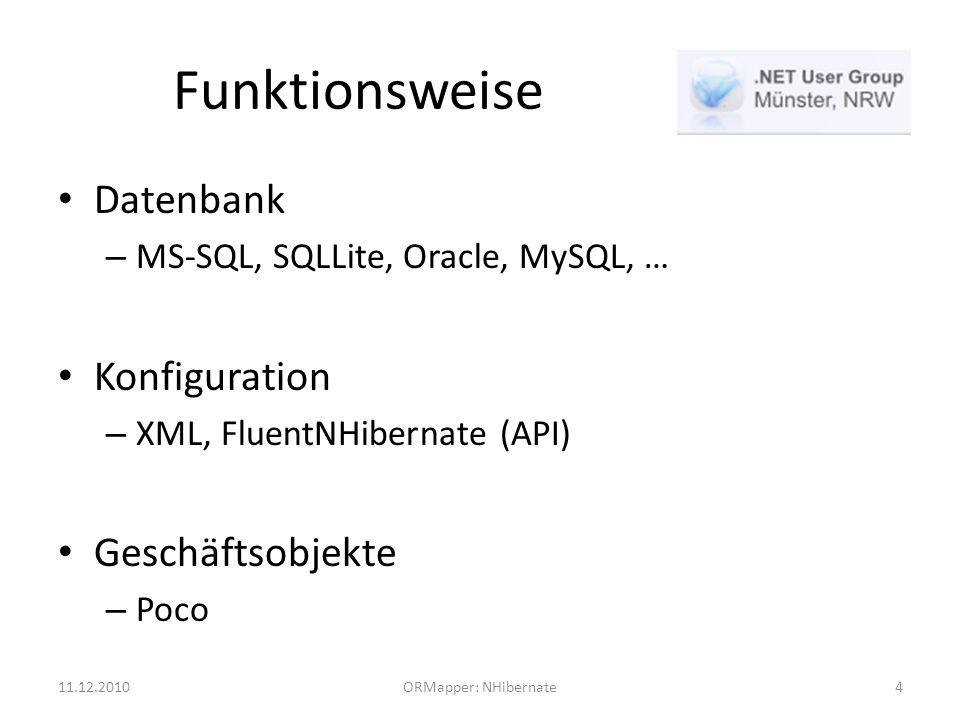 Funktionsweise Datenbank – MS-SQL, SQLLite, Oracle, MySQL, … Konfiguration – XML, FluentNHibernate (API) Geschäftsobjekte – Poco 11.12.2010ORMapper: NHibernate4
