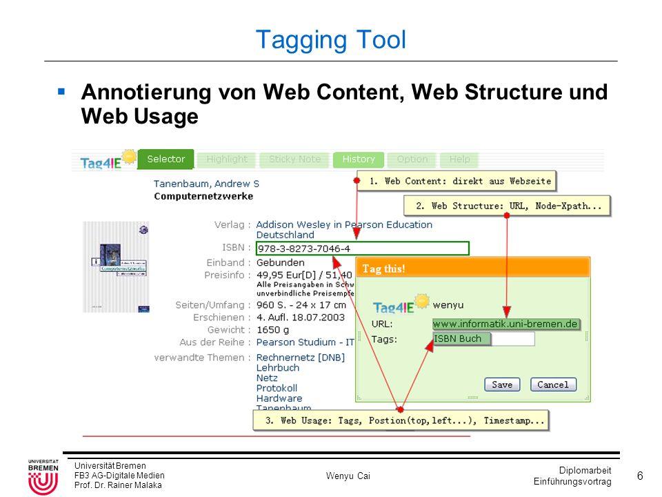 Universität Bremen FB3 AG-Digitale Medien Prof. Dr. Rainer Malaka Wenyu Cai Diplomarbeit Einführungsvortrag 6 Tagging Tool Annotierung von Web Content