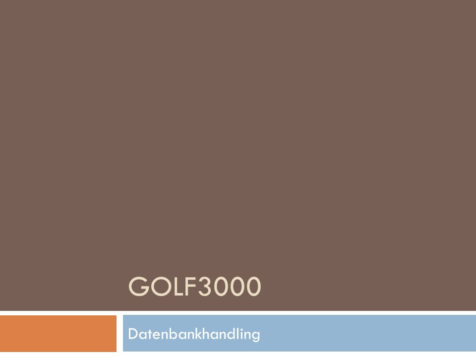 GOLF3000 Datenbankhandling
