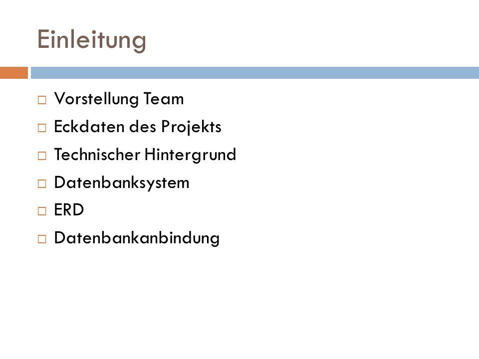 Einleitung Vorstellung Team Eckdaten des Projekts Technischer Hintergrund Datenbanksystem ERD Datenbankanbindung