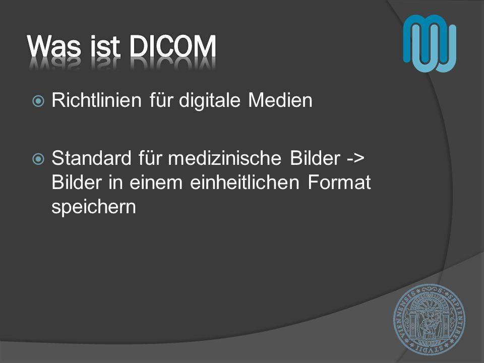 Bild (Röntgen) / Bilderserie (MRT) Liste von Datenelementen Informationen zum Patienten Identifikationsnummer Informationen zur Aufnahme DICOM Standard definiert exakt welche Informationen enthalten sein müssen bzw.