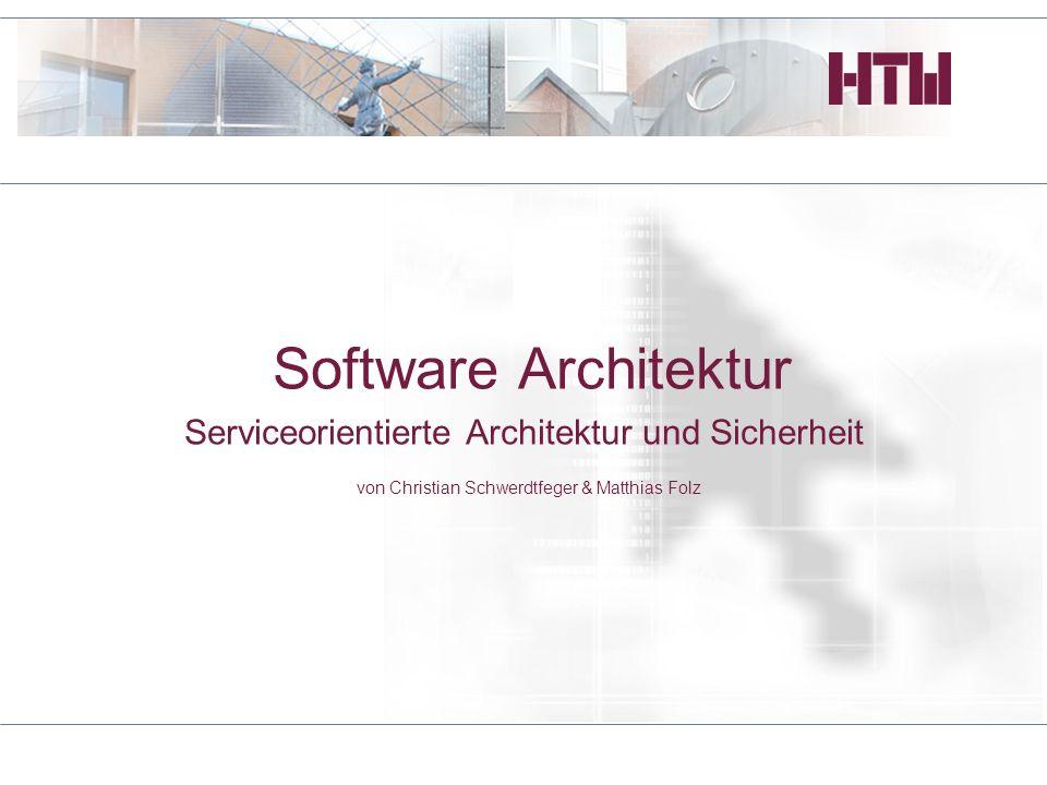 Software Architektur Serviceorientierte Architektur und Sicherheit von Christian Schwerdtfeger & Matthias Folz