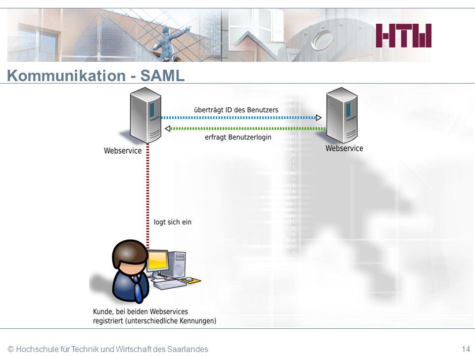 Kommunikation - SAML © Hochschule für Technik und Wirtschaft des Saarlandes14
