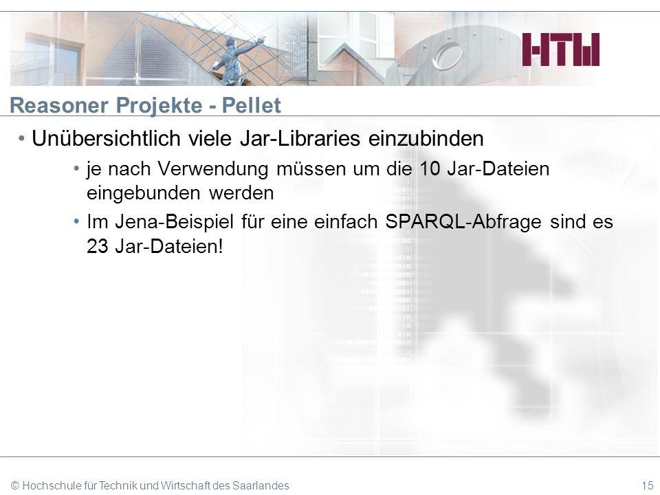 Reasoner Projekte - Pellet Unübersichtlich viele Jar-Libraries einzubinden je nach Verwendung müssen um die 10 Jar-Dateien eingebunden werden Im Jena-