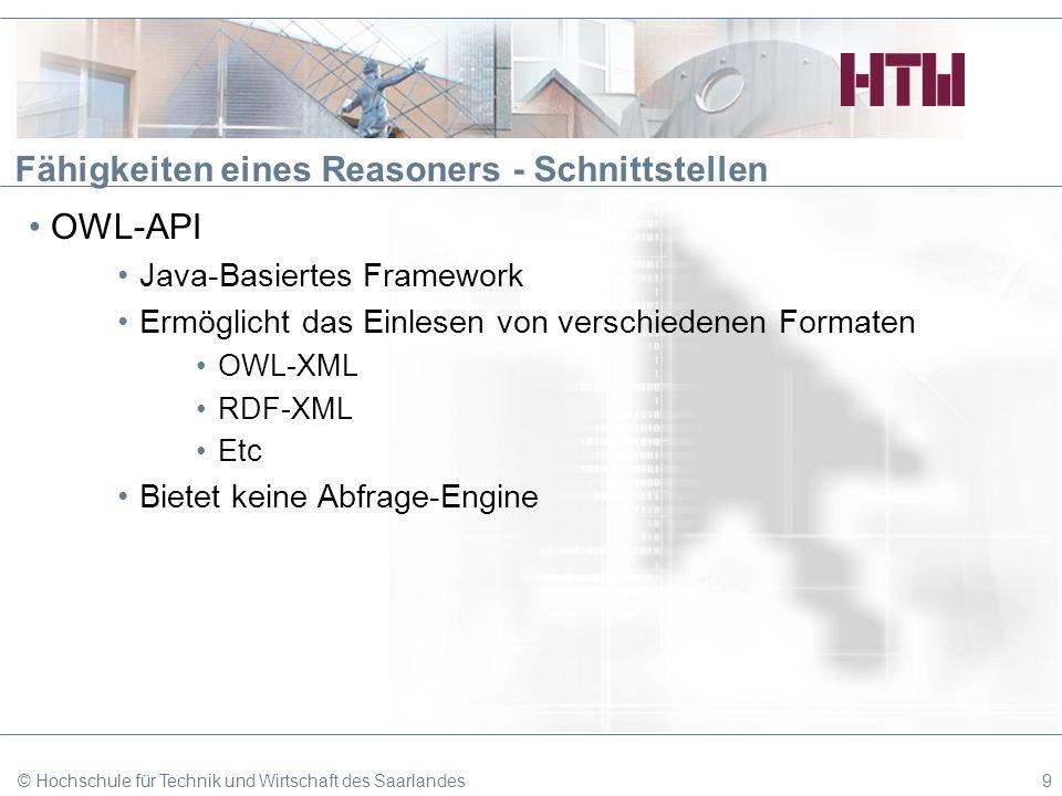 Fähigkeiten eines Reasoners - Schnittstellen OWL-API Java-Basiertes Framework Ermöglicht das Einlesen von verschiedenen Formaten OWL-XML RDF-XML Etc B