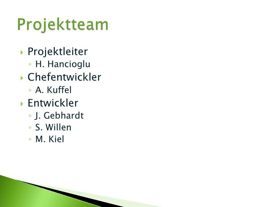 Projektleiter H. Hancioglu Chefentwickler A. Kuffel Entwickler J. Gebhardt S. Willen M. Kiel
