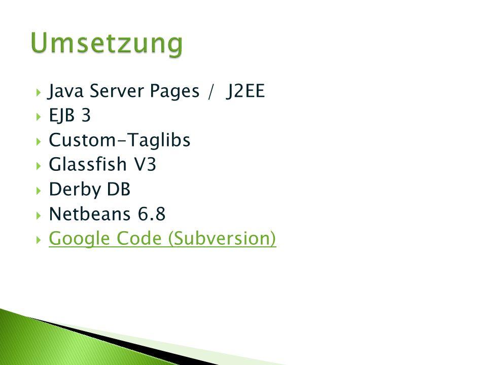 Java Server Pages / J2EE EJB 3 Custom-Taglibs Glassfish V3 Derby DB Netbeans 6.8 Google Code (Subversion)
