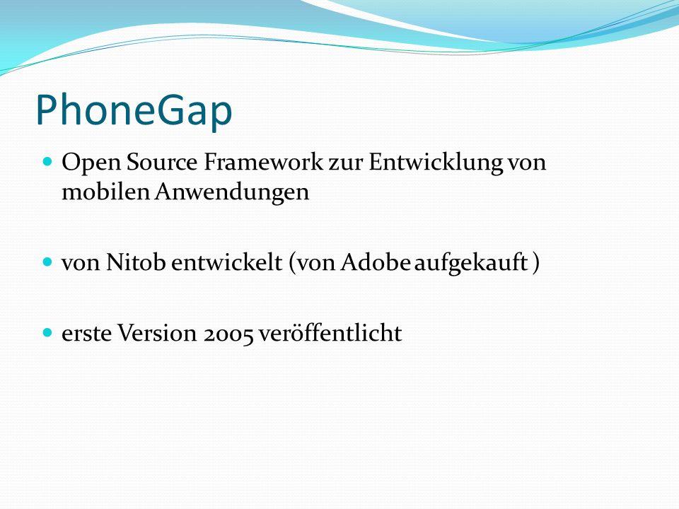 PhoneGap Open Source Framework zur Entwicklung von mobilen Anwendungen von Nitob entwickelt (von Adobe aufgekauft ) erste Version 2005 veröffentlicht