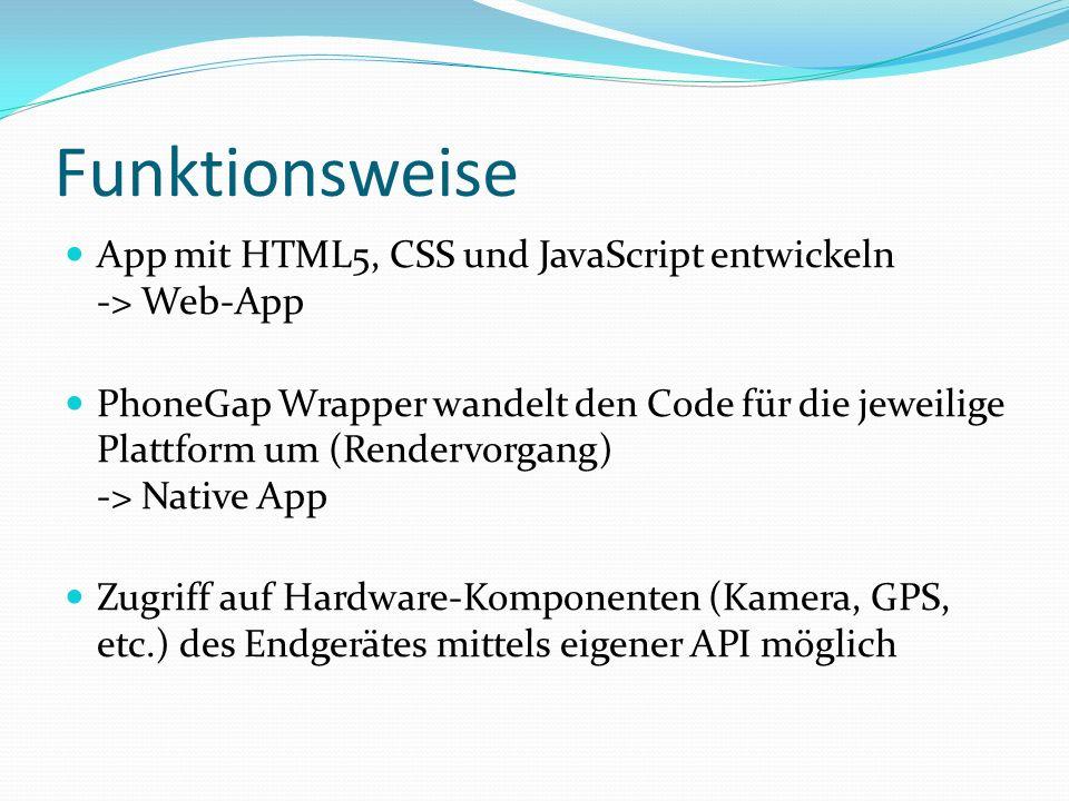 App mit HTML5, CSS und JavaScript entwickeln -> Web-App PhoneGap Wrapper wandelt den Code für die jeweilige Plattform um (Rendervorgang) -> Native App