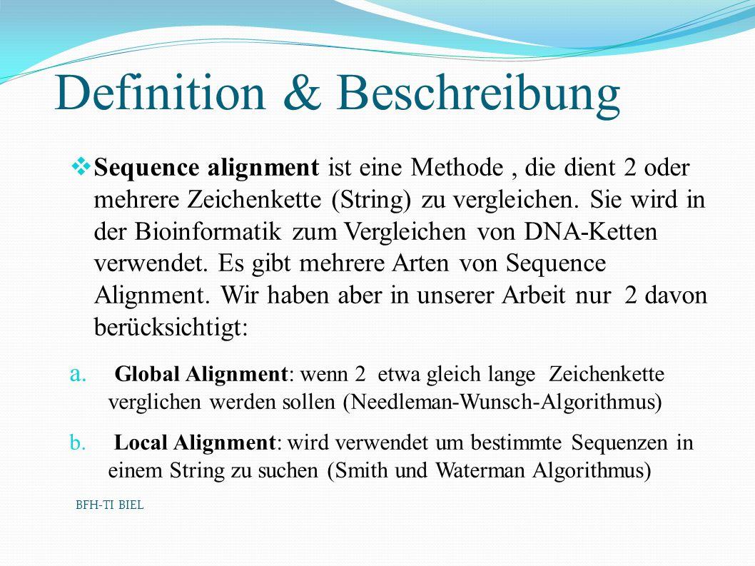 Definition & Beschreibung Sequence alignment ist eine Methode, die dient 2 oder mehrere Zeichenkette (String) zu vergleichen. Sie wird in der Bioinfor