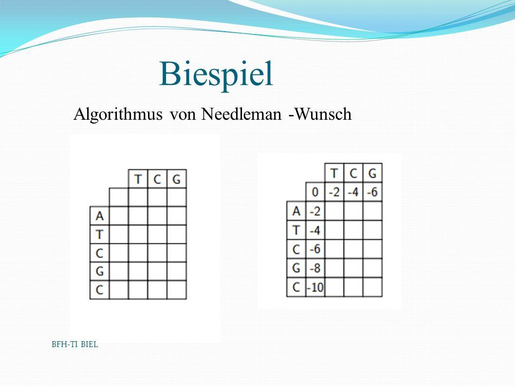 Biespiel Algorithmus von Needleman -Wunsch