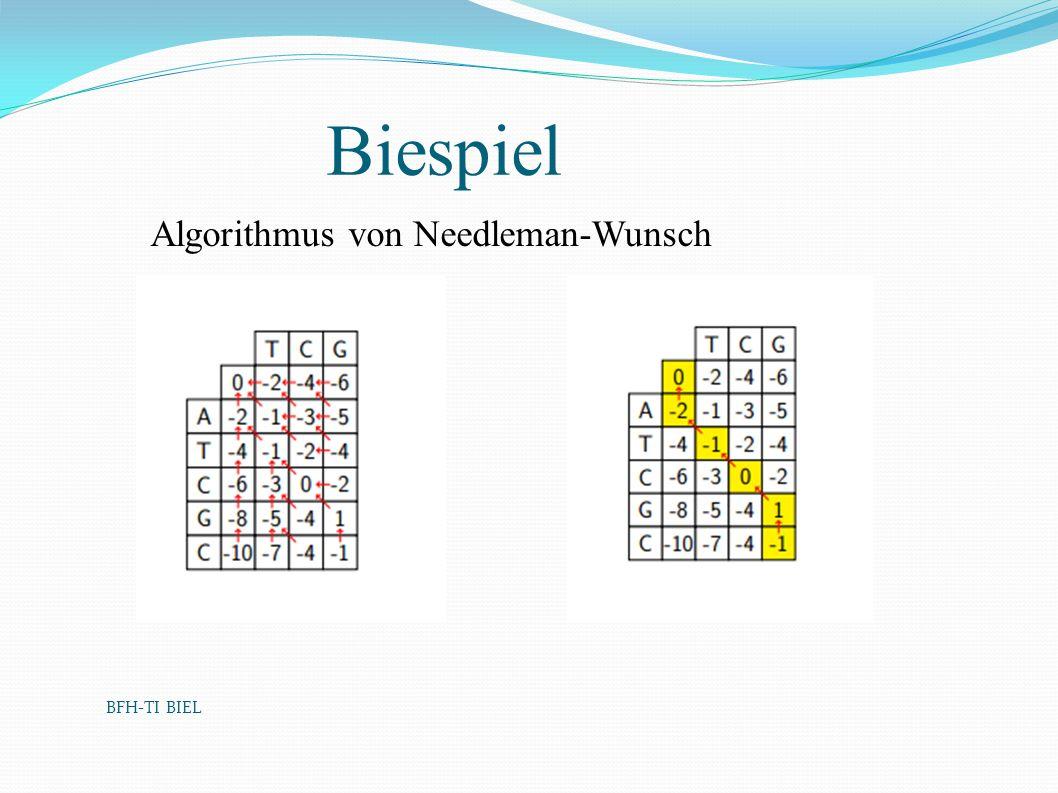 BFH-TI BIEL Biespiel Algorithmus von Needleman-Wunsch