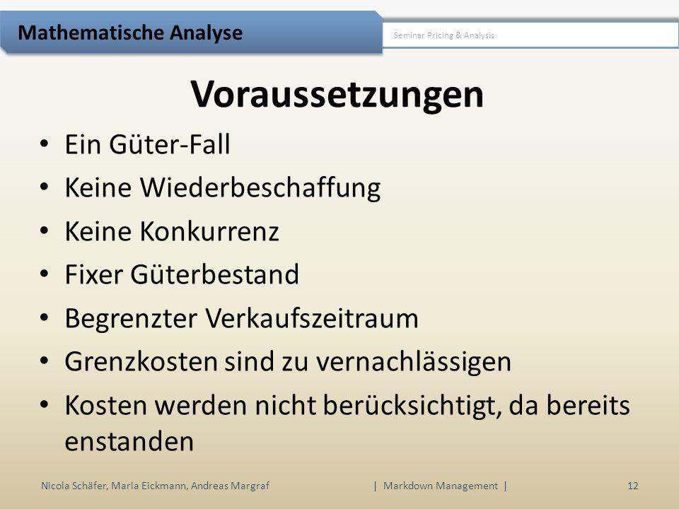 Voraussetzungen Nicola Schäfer, Maria Eickmann, Andreas Margraf | Markdown Management | 12 Seminar Pricing & Analysis Mathematische Analyse Ein Güter-