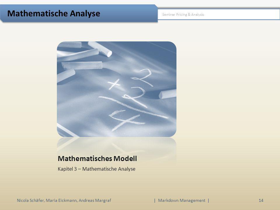 Mathematisches Modell Kapitel 3 – Mathematische Analyse Nicola Schäfer, Maria Eickmann, Andreas Margraf | Markdown Management | 14 Seminar Pricing & A