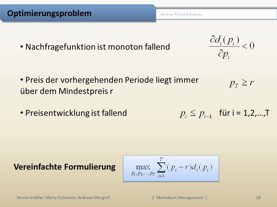 Nicola Schäfer, Maria Eickmann, Andreas Margraf | Markdown Management | 18 Seminar Pricing & Analysis Optimierungsproblem Nachfragefunktion ist monoto