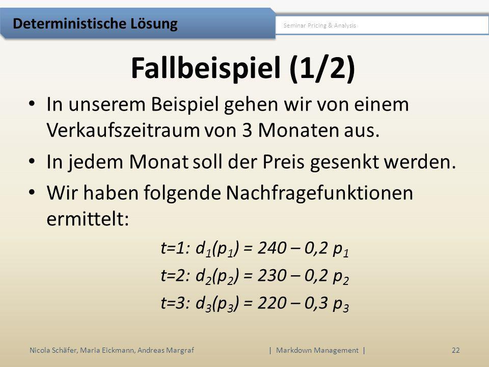 Fallbeispiel (1/2) Nicola Schäfer, Maria Eickmann, Andreas Margraf | Markdown Management | 22 Seminar Pricing & Analysis Deterministische Lösung In un