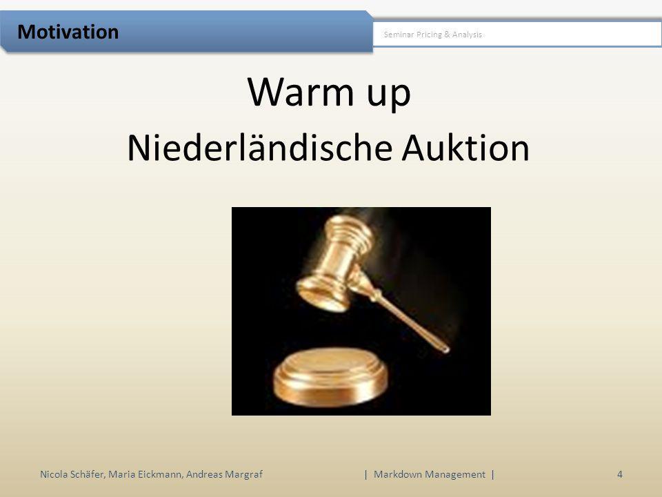 Warm up Nicola Schäfer, Maria Eickmann, Andreas Margraf | Markdown Management | 4 Seminar Pricing & Analysis Motivation Niederländische Auktion