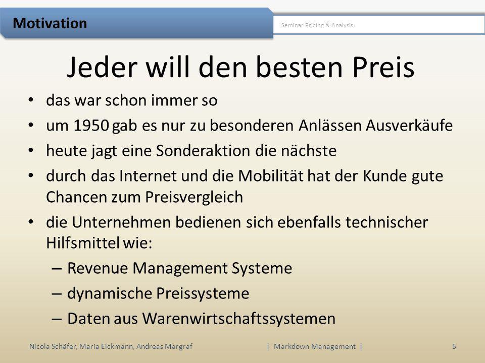 Jeder will den besten Preis Nicola Schäfer, Maria Eickmann, Andreas Margraf | Markdown Management | 5 Seminar Pricing & Analysis Motivation das war sc