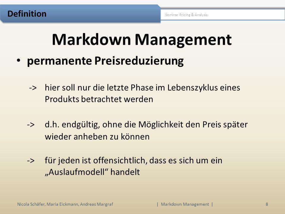 Markdown Management Nicola Schäfer, Maria Eickmann, Andreas Margraf | Markdown Management | 8 Seminar Pricing & Analysis Definition permanente Preisre