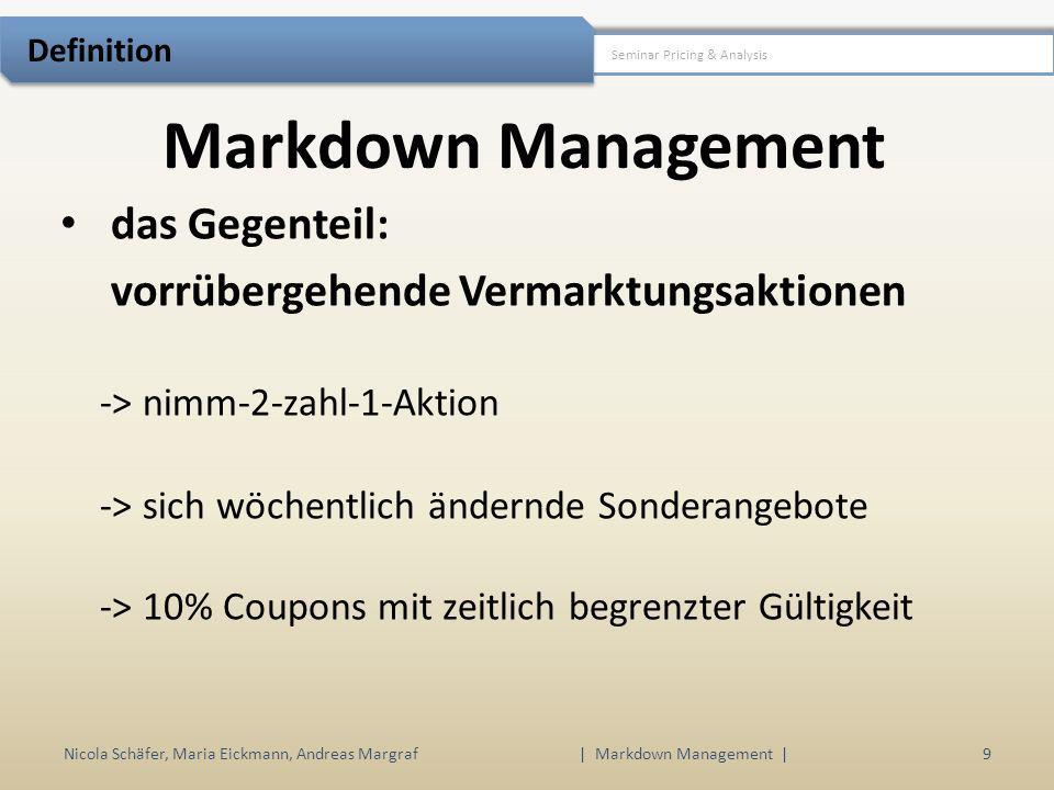 Markdown Management Nicola Schäfer, Maria Eickmann, Andreas Margraf | Markdown Management | 9 Seminar Pricing & Analysis Definition das Gegenteil: vor