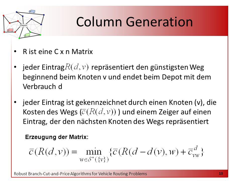 Robust Branch-Cut-and-Price Algorithms for Vehicle Routing Problems 13 R ist eine C x n Matrix jeder Eintrag repräsentiert den günstigsten Weg beginnend beim Knoten v und endet beim Depot mit dem Verbrauch d jeder Eintrag ist gekennzeichnet durch einen Knoten (v), die Kosten des Wegs ( ) und einem Zeiger auf einen Eintrag, der den nächsten Knoten des Wegs repräsentiert Column Generation Erzeugung der Matrix: