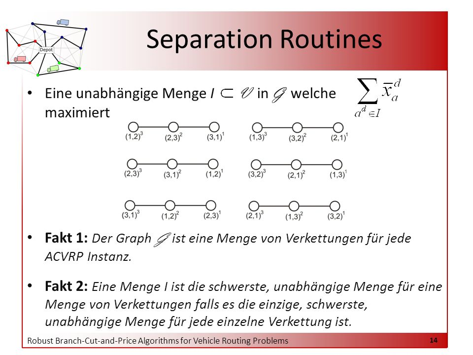 Robust Branch-Cut-and-Price Algorithms for Vehicle Routing Problems 14 Eine unabhängige Menge I V in G welche maximiert Fakt 1: Der Graph G ist eine Menge von Verkettungen für jede ACVRP Instanz.