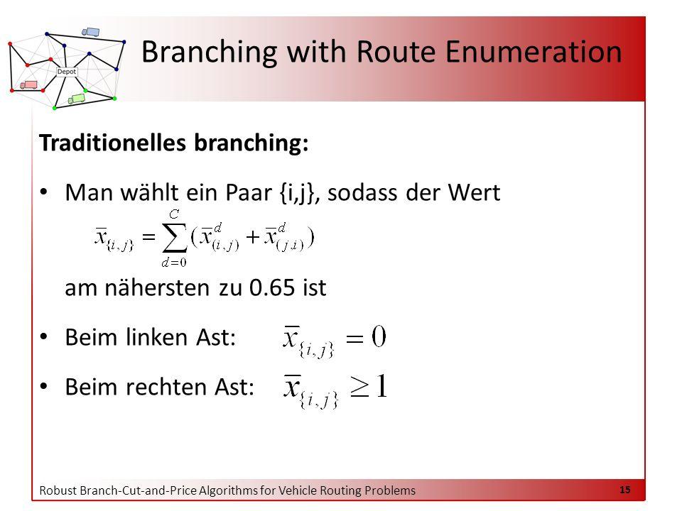 Robust Branch-Cut-and-Price Algorithms for Vehicle Routing Problems 15 Branching with Route Enumeration Traditionelles branching: Man wählt ein Paar {i,j}, sodass der Wert am nähersten zu 0.65 ist Beim linken Ast: Beim rechten Ast: