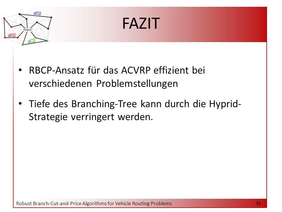 Robust Branch-Cut-and-Price Algorithms for Vehicle Routing Problems 21 FAZIT RBCP-Ansatz für das ACVRP effizient bei verschiedenen Problemstellungen Tiefe des Branching-Tree kann durch die Hyprid- Strategie verringert werden.