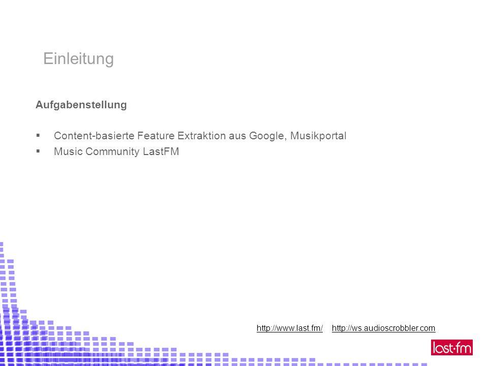 Aufgabenstellung Content-basierte Feature Extraktion aus Google, Musikportal Music Community LastFM Einleitung http://www.last.fm/ http://ws.audioscrobbler.com