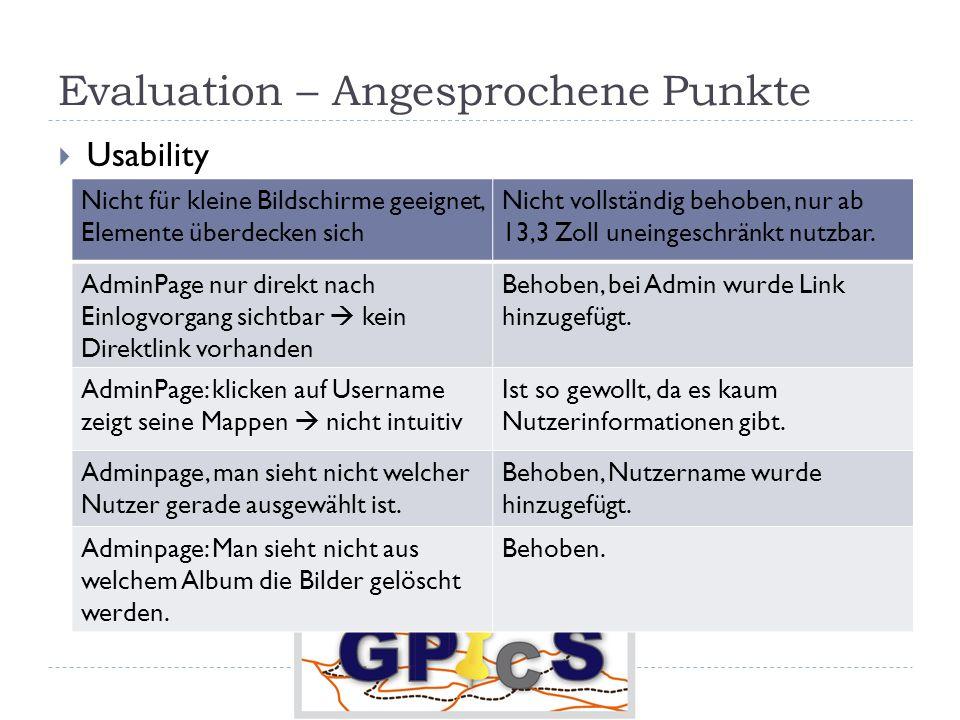 Evaluation – Angesprochene Punkte Usability Nicht für kleine Bildschirme geeignet, Elemente überdecken sich Nicht vollständig behoben, nur ab 13,3 Zoll uneingeschränkt nutzbar.