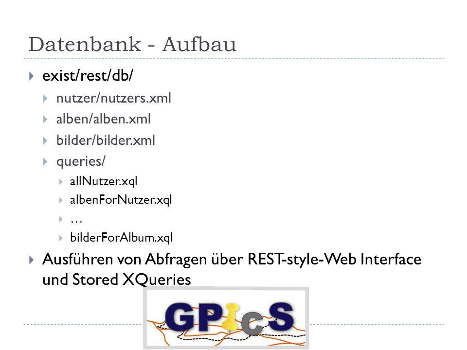Datenbank - Aufbau exist/rest/db/ nutzer/nutzers.xml alben/alben.xml bilder/bilder.xml queries/ allNutzer.xql albenForNutzer.xql … bilderForAlbum.xql Ausführen von Abfragen über REST-style-Web Interface und Stored XQueries