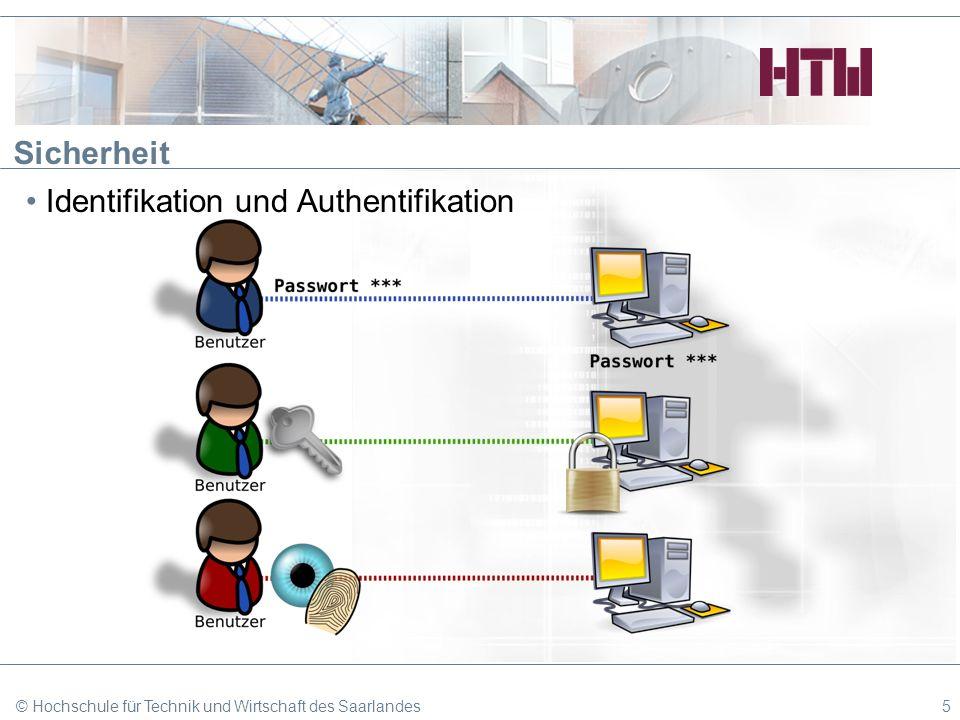 Sicherheit Identifikation und Authentifikation © Hochschule für Technik und Wirtschaft des Saarlandes5