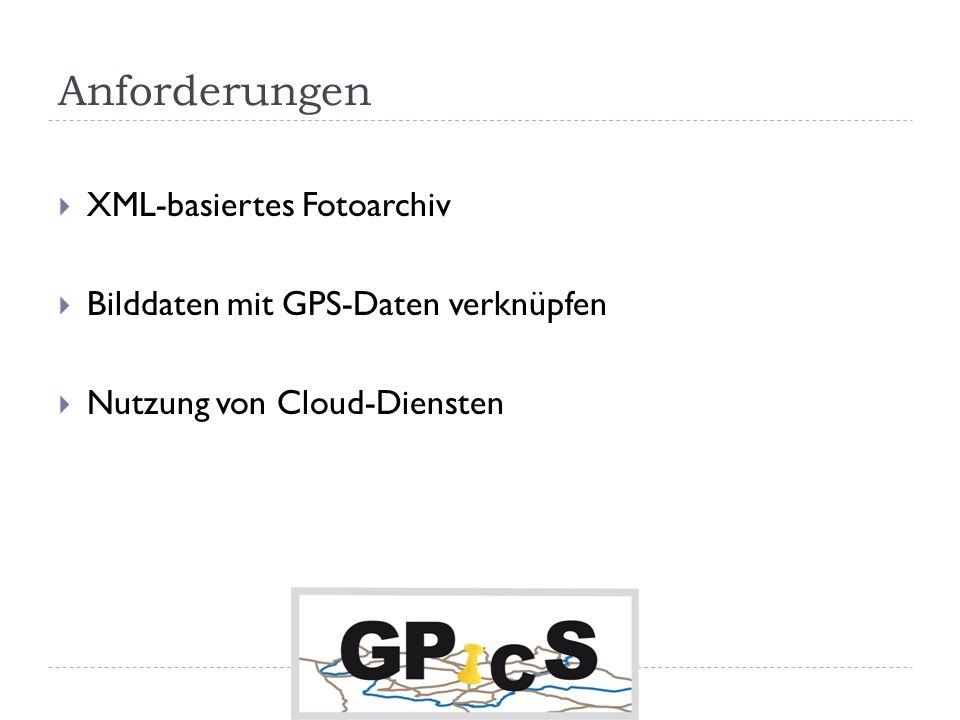 Anforderungen XML-basiertes Fotoarchiv Bilddaten mit GPS-Daten verknüpfen Nutzung von Cloud-Diensten