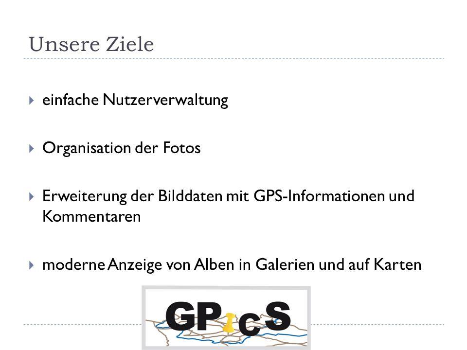 Unsere Ziele einfache Nutzerverwaltung Organisation der Fotos Erweiterung der Bilddaten mit GPS-Informationen und Kommentaren moderne Anzeige von Alben in Galerien und auf Karten