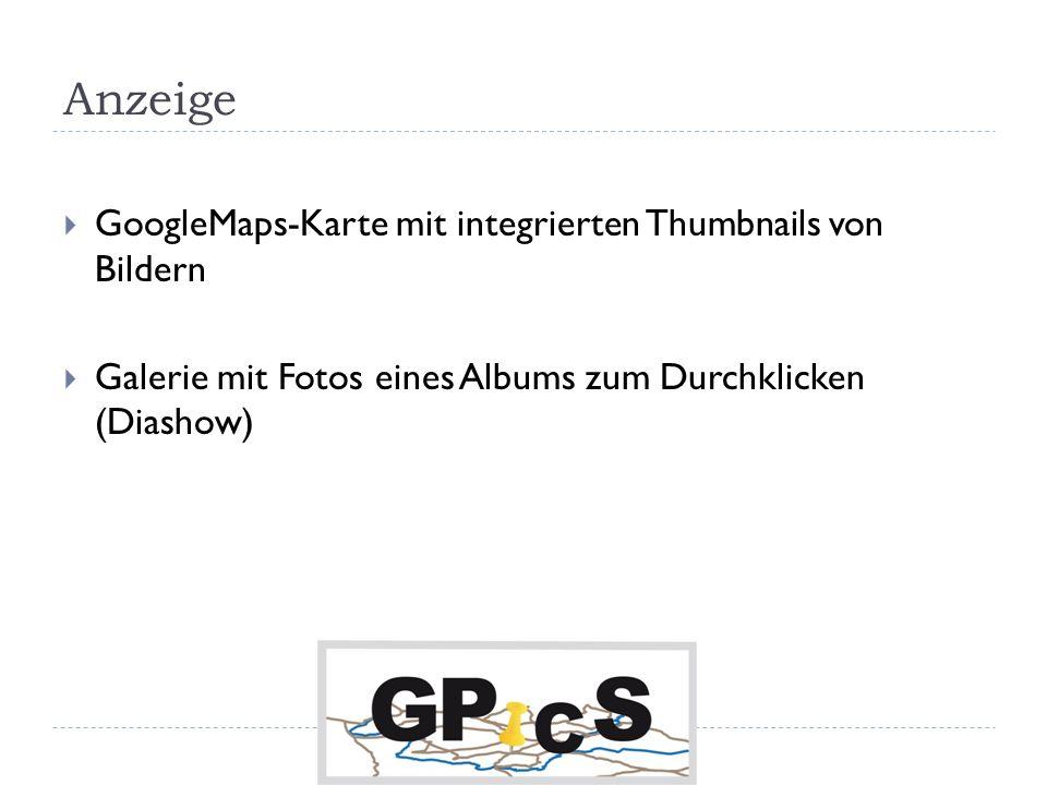 Anzeige GoogleMaps-Karte mit integrierten Thumbnails von Bildern Galerie mit Fotos eines Albums zum Durchklicken (Diashow)