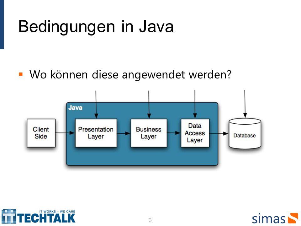 Bedingungen in Java Wo können diese angewendet werden? 3