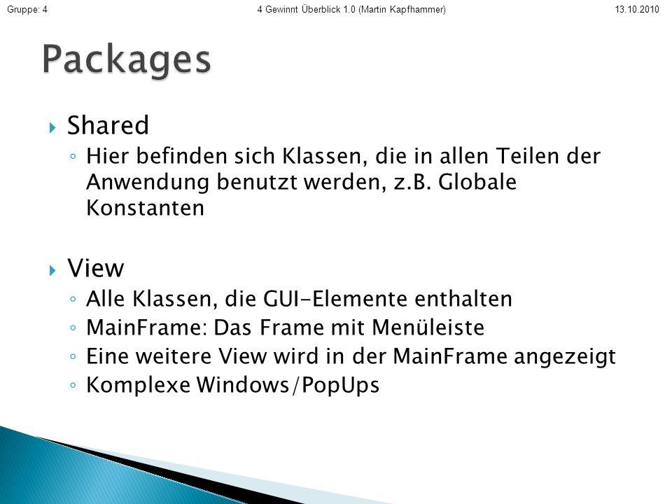 Shared Hier befinden sich Klassen, die in allen Teilen der Anwendung benutzt werden, z.B. Globale Konstanten View Alle Klassen, die GUI-Elemente entha