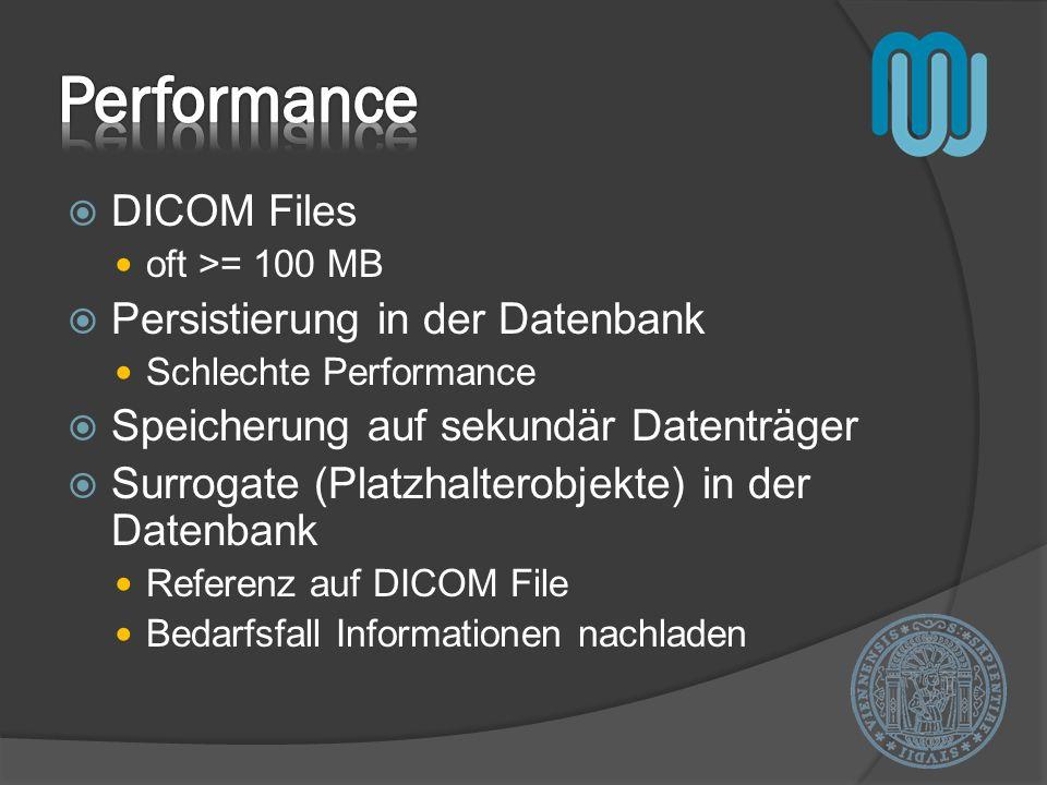DICOM Files oft >= 100 MB Persistierung in der Datenbank Schlechte Performance Speicherung auf sekundär Datenträger Surrogate (Platzhalterobjekte) in