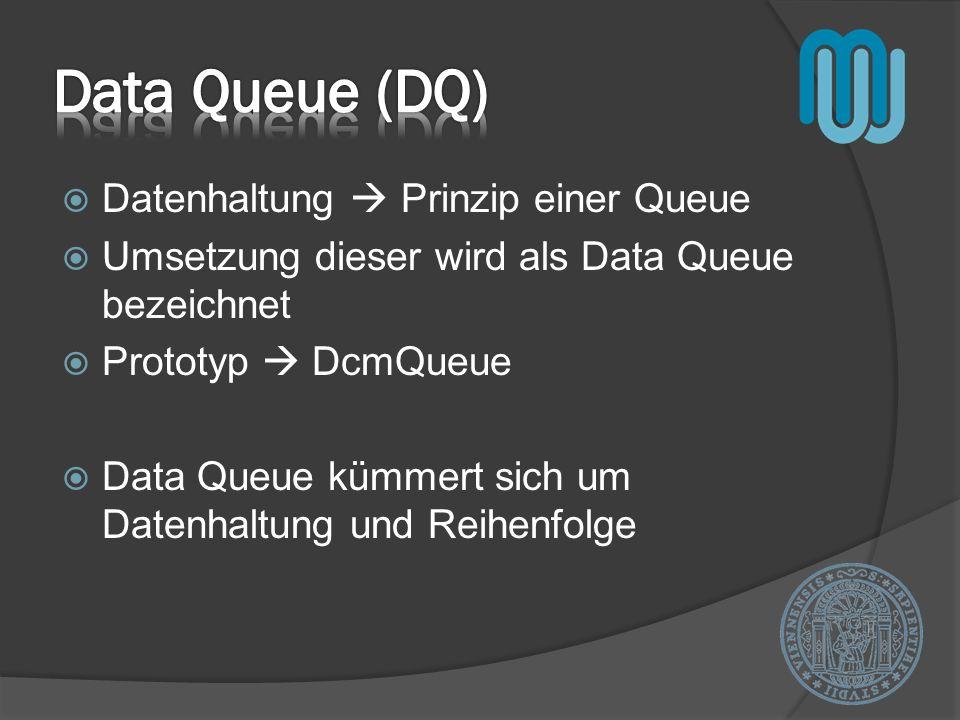Datenhaltung Prinzip einer Queue Umsetzung dieser wird als Data Queue bezeichnet Prototyp DcmQueue Data Queue kümmert sich um Datenhaltung und Reihenf